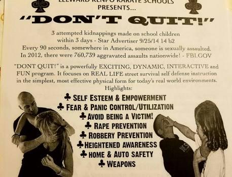 Don't Quit! Self-Defense Seminar Coming To 'Ewa