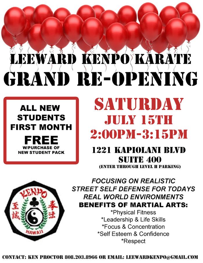 Leeward Kenpo Grand Re-Opening flier