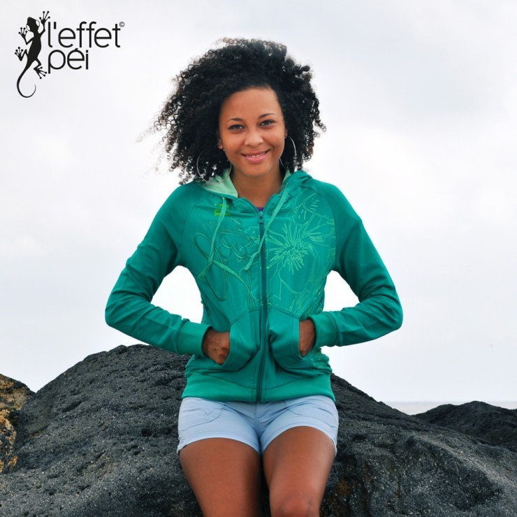 Sweatshirt femme Yuti - Vert - L'effet Péi Réunion
