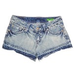 Short en jeans brodé L'effet Péi
