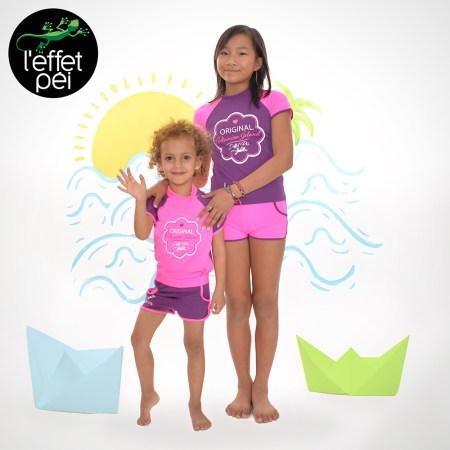 Ensemble maillot de bain Lycra rose et prune - Filles - Enfants - Marmailles La Réunion