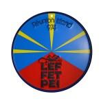 Plak Flag - Plaque ronde - Drapeau de la Réunion - 974