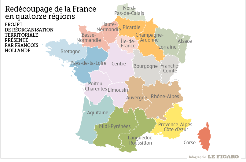 infographie, regions, france