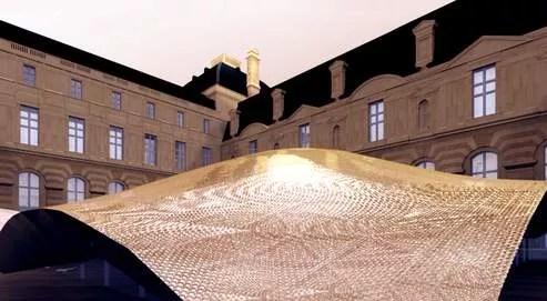 Image de synthèse du futur toit de la gallerie souterraine du Louvre dédiée aux arts de l'islam.
