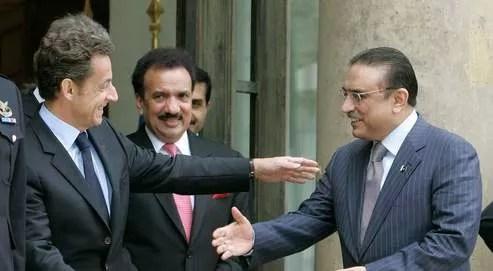 Nicolas Sarkozy received his Pakistani counterpart, Asif Ali Zardari, at the Élysée, on Friday. Credits photo: AP