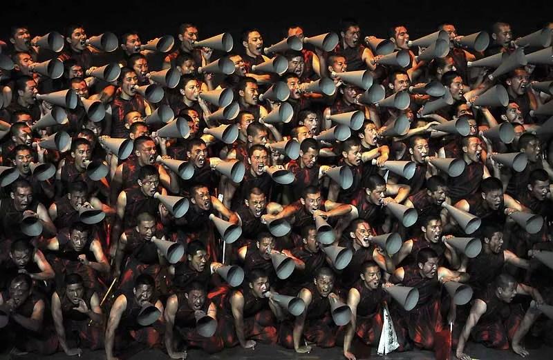 Des soldats de l'armée chinoise en pleine répétition, le 19 septembre, pour un spectacle musical qu'ils interprèteront le 1er octobre à l'occasion du 60ème anniversaire de la République Populaire de Chine.