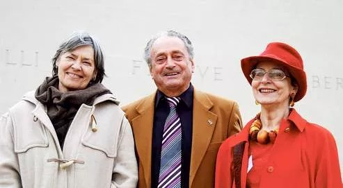 Trois enfants de la Seconde Guerre mondiale, nés de pères soldats allemands, samedi au mémorial de Caen. Monika Beendorf (néerlandaise), Jean-Jacques Delorme (français) et Gerlinda Swillen (belge). (Crédits photo : Maurin Picard)