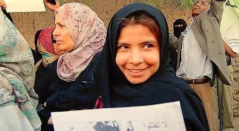 Victime d'un mariage forcé, Nojoud Ali a participé, ce mardi à Sanaa, à un rassemblement pour dire non aux mariages des fillettes yéménites.