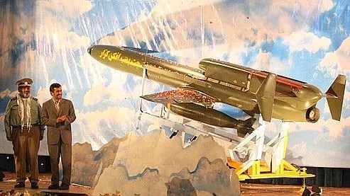 Le drone présenté par Ahmadinejad au lendemain de la mise en service de la première centrale nucléaire iranienne.