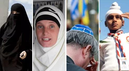 De gauche à droite : un niqab, interdit dans l'espace public, un hidjab, une kippa et un dastaar, interdits dans les écoles publiques.