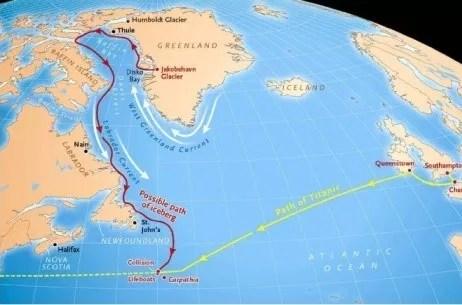 Le trajet possible suivi par l'iceberg venu couper la route du Titanic. Une grande marée aurait pu le déloger des cotes du Labrador en janvier. (Crédits: Sky et Telescope)