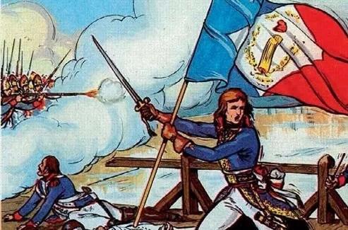 «Bonaparte au pont d'Arcole». Illustration d'un manuel scolaire. Crédits: Henri Dimpre/Collection Jonas/Kharbine-Tapabor