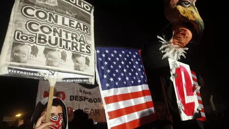 Une manifestation contre les «fonds vautours» à Buenos Aires, la capitale argentine, mercredi.