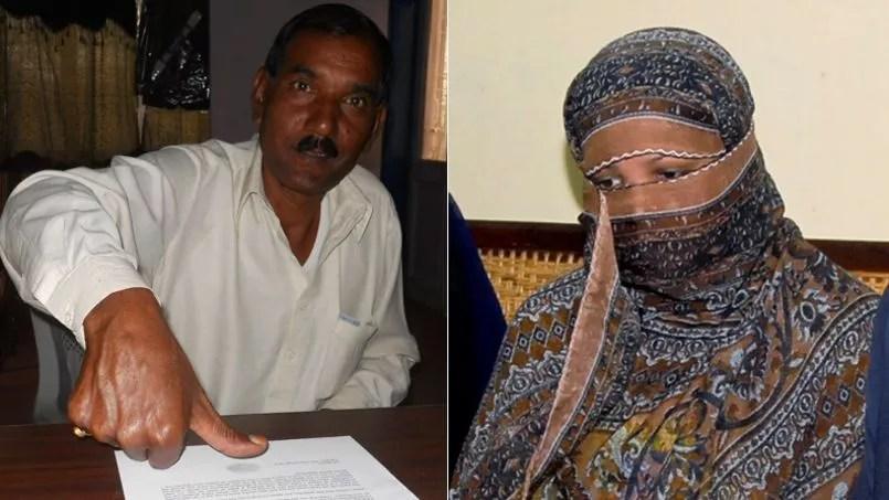 A gauche, Ashiq Masih signe du pouce la lettre publiée par <i>Le Figaro</i>. A droite, sa femme Asia Bibi, en novembre 2010.