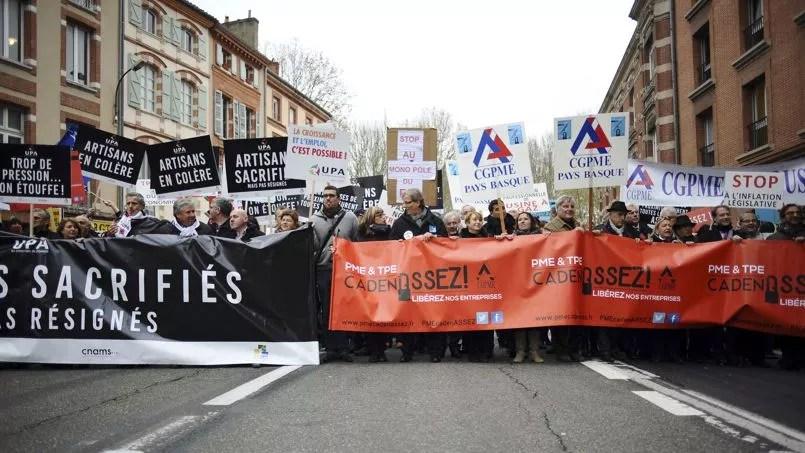 À Toulouse, la manifestation réunissait des chefs d'entreprise de Midi-Pyrénées mais également du Limousin, du Languedoc-Roussillon et du Poitou-Charente.