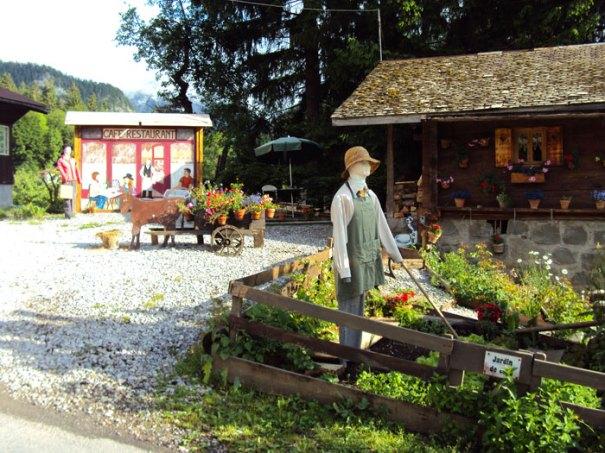 Fake garden scene