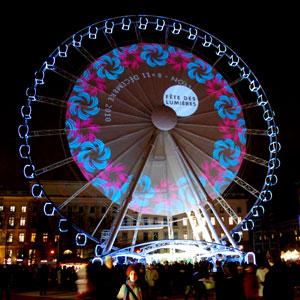 Lyon Fete des Lumieres illuminated ferris wheel