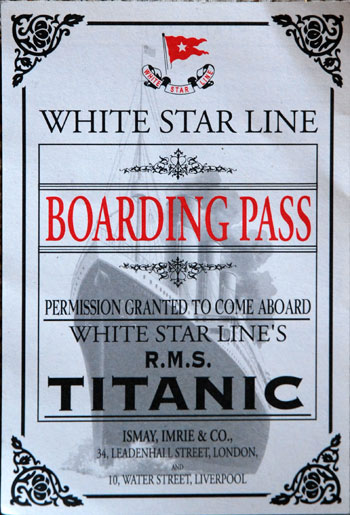 spooky Titanic boarding pass