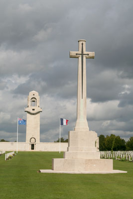 <The Australian National Memorial and Villers-Bretonneux Military Cemetery, in Villers-Bretonneux, France >