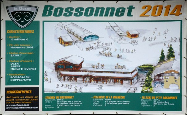 <Poster in La Clusaz advertising the new Bossonnet replacement ski lift - due in 2014 >