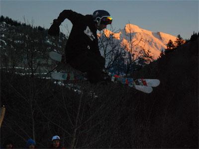 <Photo of the Saint Jean de Sixt freestyle ski competition - the ramp. Copyright Le Franco Phoney>