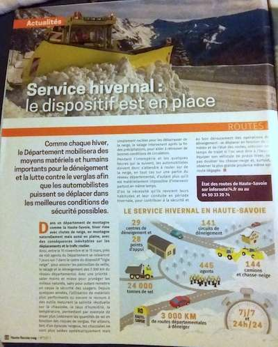 Haute Savoie magazine with snow clearing details