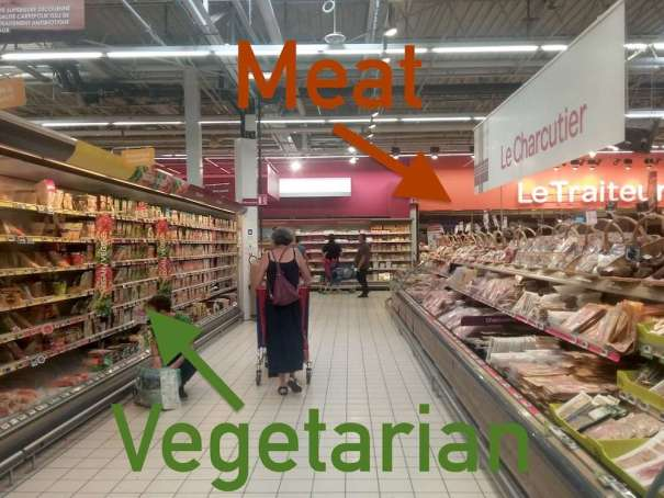 Vegatarian aisle at Carrefour Annecy
