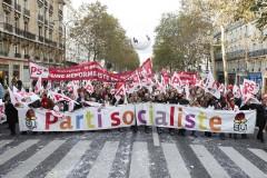 A Parti Socialiste Francais banner on a demonstration