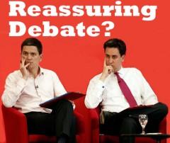 David and Ed Miliband, with headline Reassuring debate?