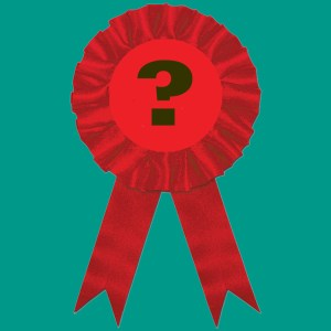 red rosette with question mark
