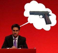 ed miliband thinking of a pistol