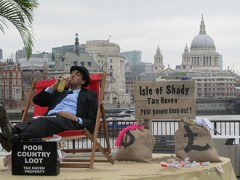 Pop-up tax haven on London's South Bank as part of the Christain Aid Enough Food IF campaign