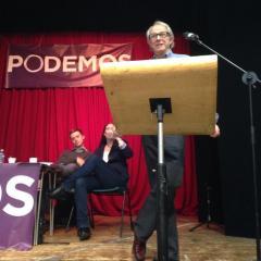 Ken Loach and Owen Jones at Podemos rally