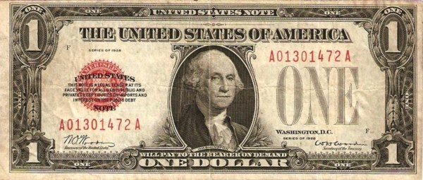 One Dollar United States note red seal - Exchange yours today