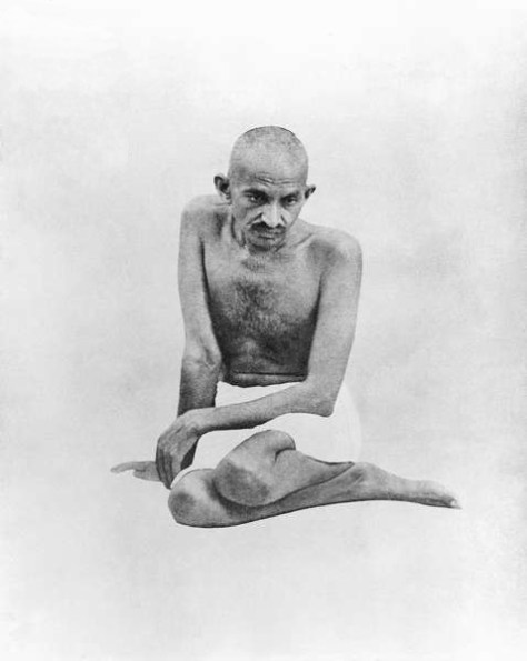 Mohandas K. Gandhi, meditative pose, 1924. One of the most phenomenal leaders of the 20th century he was able to influence millions though he held no position in government. Called by many Mahatma which means Great Soul.