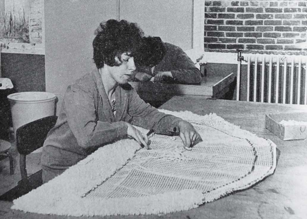 Pauline Brayley concentrates on rugmaking and Sandra James on teapot stands.