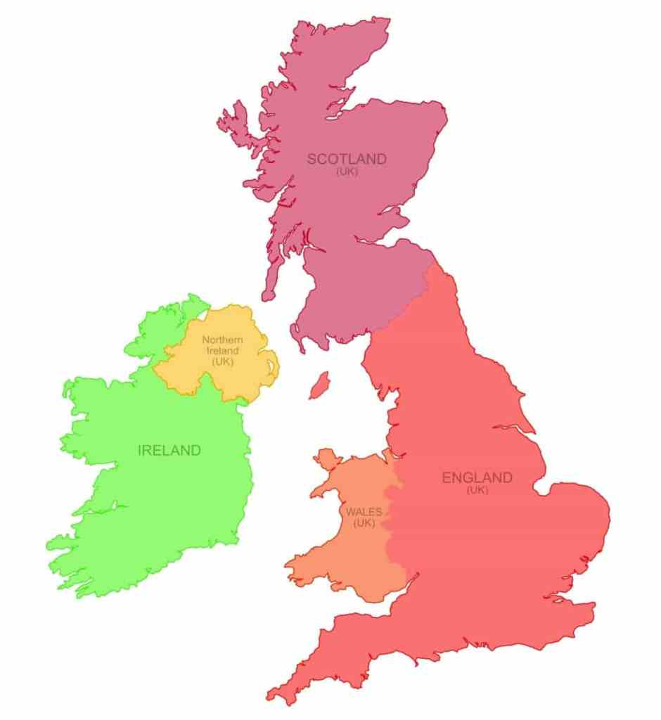 The four countries of the United Kingdom and the Republic of Ireland. Map courtesy Nate Parker.