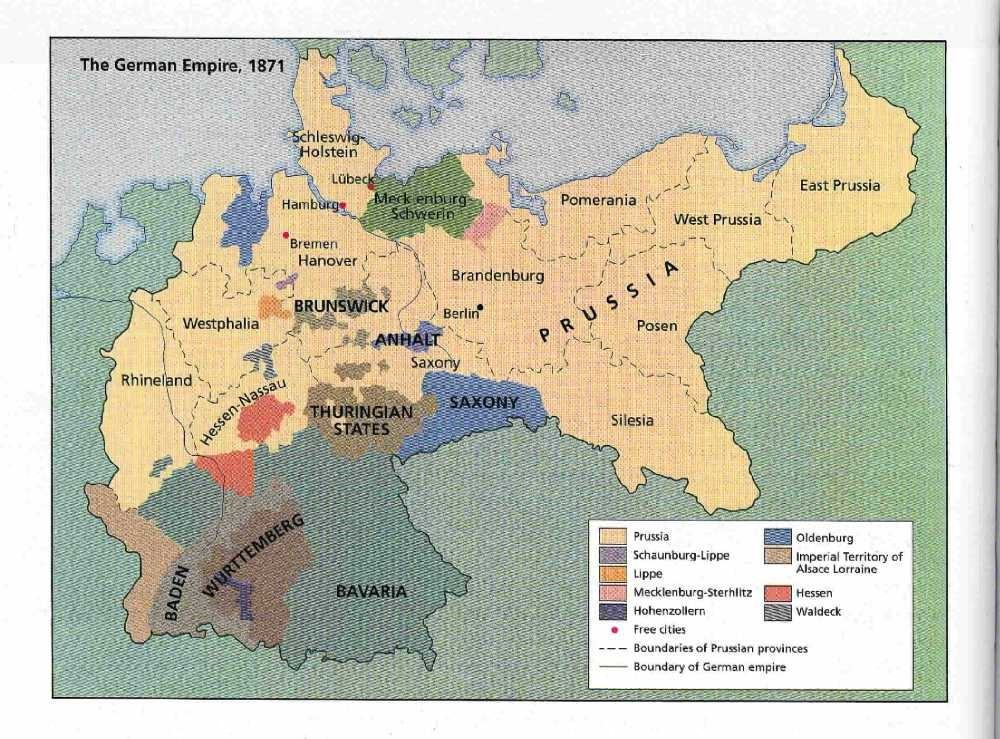 A map of united Germany, 1871. Courtesy of http://rootsweb.ancestry.com.
