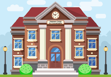 School or university building. Vector flat education concept