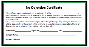 Land No Objection Certificate Format