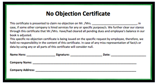 land no objection certificate format   law