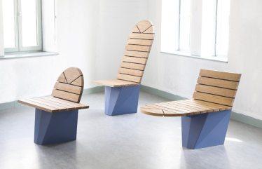 Les Lamaneurs par Ralston & Bau Mobilier urbain, 2015 Matériaux: Acacia et métal laqué Produit par: Les Ateliers du Marais & Armtop