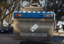 Le Gars de la Pub - domino's pizza répare route paving for pizza aussi