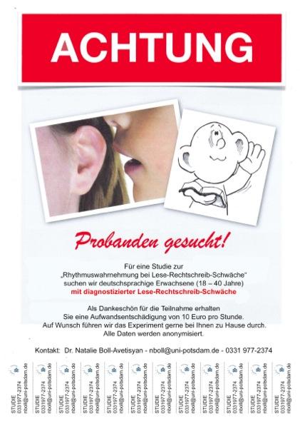 Legasthenie, Flyer, Studie, Universität Potsdam