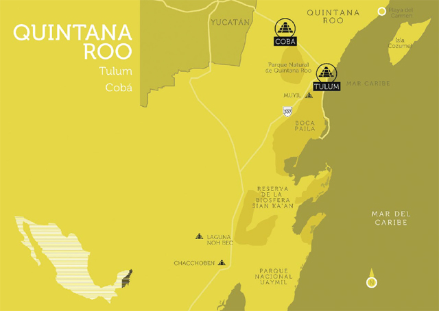 Mapa Quintana Roo, México