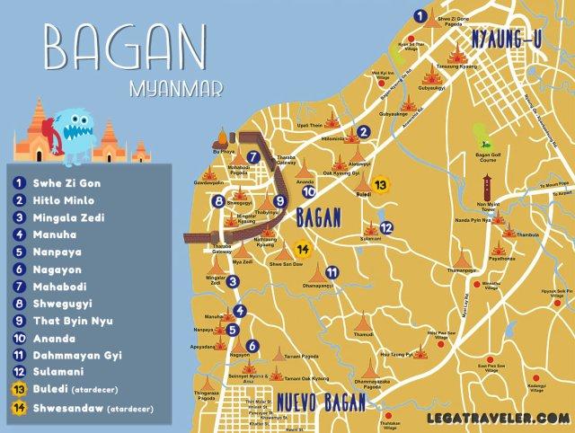 mapa templos de bagan myanmar