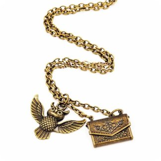 Gold Owl Necklace with Envelope