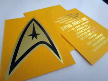 Star Trek Insignia Post Card or Birthday Invitation (yellow)
