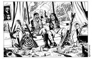 Ben Dewey illustration of Dimebag and Zakk