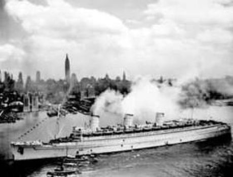 """During her service in the war, the Queen Mary was painted a drab grey, hence her nickname, the """"Grey Ghost."""""""